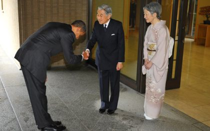 bowing to the emperor
