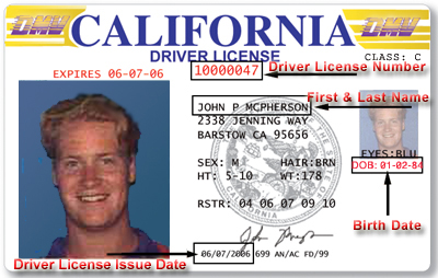 California drivers license issue date