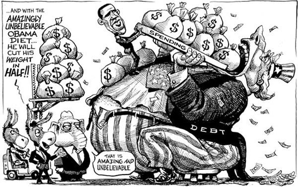 current political cartoons. current-year deficit